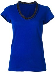Sacai Ruffle Neck T Shirt Women Cotton Cupro 2 Blue