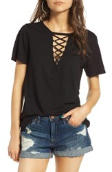 Socialite Women's Grommet Lace Up Tee Black