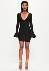 Missguided Black Flare Sleeve Textured Bandage Bodycon Dress