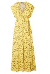 Paul And Joe Amalia Ruffled Floral Print Crepe Wrap Maxi Dress Yellow Gbp