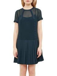 Ted Baker Colour By Numbers Deidre Pleated Drop Hem Dress Navy
