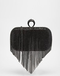 Aldo Box Clutch With Ring Closure And Fringe Detail Blackgunmetal