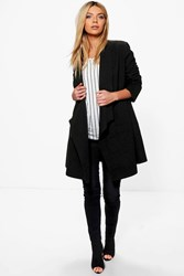 Boohoo Eleanor Waterfall Wool Look Duster Black