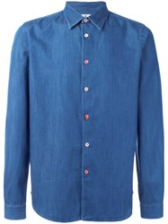 Paul Smith Ps By Button Detail Denim Shirt Blue
