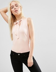 Asos Sleeveless Pussybow Blouse Nude Pink