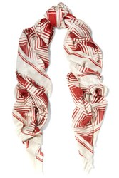Anya Hindmarch Diamonds Printed Modal And Cashmere Blend Scarf Claret