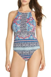 Tommy Bahama Riviera Tiles Reversible One Piece Swimsuit Cerise
