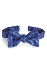 David Donahue Men's Geometric Silk Bow Tie Navy