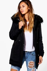 Boohoo Luxe Padded Coat With Faux Fur Hood Black