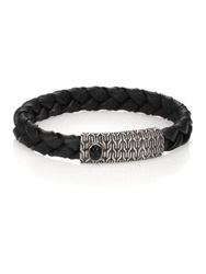 John Hardy Batu Classic Chain Sterling Silver Black Chalcedony And Leather Bracelet Black Silver