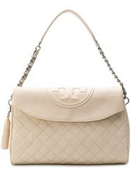 Tory Burch Fleming Fold Over Hobo Bag Nude And Neutrals