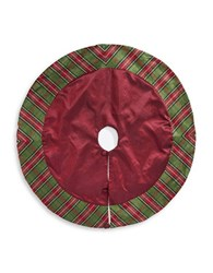 Lord And Taylor Plaid Trimmed Tree Skirt Red