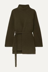 Vince Belted Asymmetric Ribbed Wool And Cashmere Blend Turtleneck Sweater Army Green