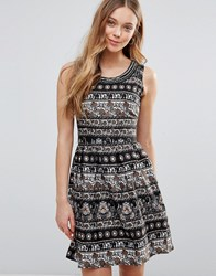Yumi Elephant Print Dress Black Multi