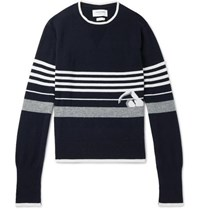 Thom Browne Striped Intarsia Cashmere Sweater Navy
