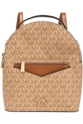 Michael Michael Kors Woman Jessa Color Block Textured Leather Backpack Light Brown