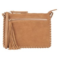 Oasis Suede Patch Whipstitch Across Body Bag Tan