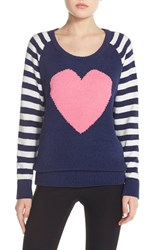 Women's Betsey Johnson Heart Raglan Sweater Stripe Pristine Navy Seals
