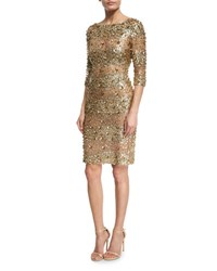 Naeem Khan Beaded 3 4 Sleeve Fitted Cocktail Dress Gold