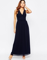 Elise Ryan Ruched Maxi Dress With Open Lace Back Detail Navy