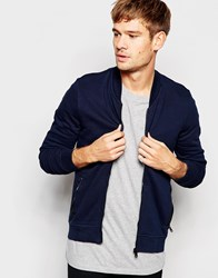 Replay Sweat Bomber Jacket In Blue Blue