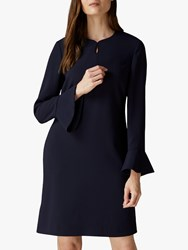 Jaeger Crepe Fluted Cuff Dress Navy