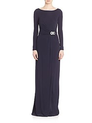 David Meister Draped Long Sleeve Jersey Gown Navy