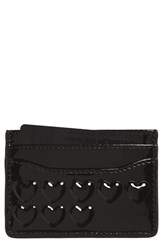 Women's Marc Jacobs Embossed Heart Leather Card Case Black
