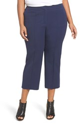 Sejour Plus Size Women's Wide Leg Crop Pants Navy Peacoat