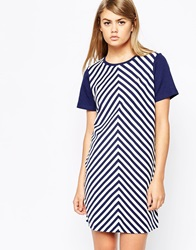 Fred Perry Chevron Striped T Shirt Dress Frenchnavy