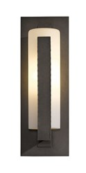 Hubbardton Forge Forged Vertical Bars Outdoor Sconce Incandescent Dark Smoke Pearl