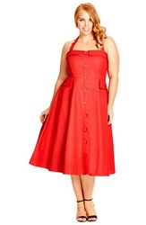 Plus Size Women's City Chic 'Roman Holiday' Denim Halter Dress