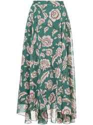Cityshop Floral Print Maxi Skirt Green