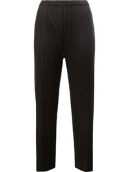 Issey Miyake Pleats Please By Pleated Straight Cropped Trousers Black