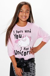 Boohoo Unicorn Placement Long Sleeve Top Soft Pink