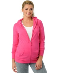 Motherhood Maternity French Terry Zip Front Hoodie Beet Root
