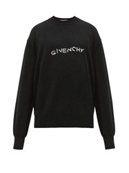 Givenchy Logo Embroidered Wool Sweater Black