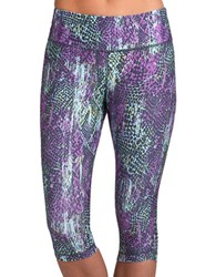 Jockey Patterned Athletic Capris Icy Teal