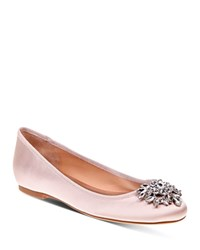 Badgley Mischka Bianca Jeweled Ballet Flats Light Pink