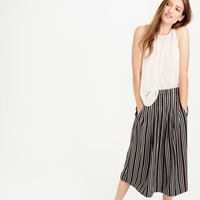 J.Crew Petite Pleated Midi Skirt In Triple Stripe