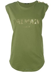 Balmain Logo Tank Top Women Cotton 38 Green