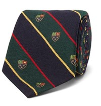 Polo Ralph Lauren 8Cm Madison Embroidered Striped Wool And Silk Blend Tie Navy