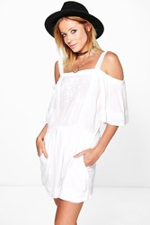 Boohoo Off The Shoulder Crochet Trim Playsuit White