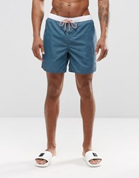 New Look Swim Shorts In Blue With Contrast Waistband Blue