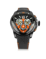 Lamborghini Black Stainless Steel Spyder Chronograph Watch W Orange Dial