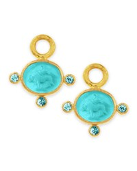 Elizabeth Locke 19K Gold Tiny Lion Venetian Glass Earring Pendants Teal