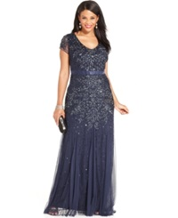 Adrianna Papell Plus Size Cap Sleeve Embellished Gown Midnight Blue