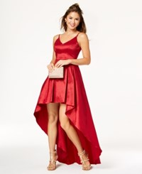 B. Darlin B Juniors' Shine Textured High Low Gown Ruby Red