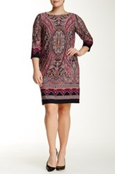 London Times 3 4 Length Sleeve Scroll Paisley Dress Plus Size Pink