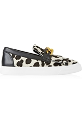 Giuseppe Zanotti London Printed Calf Hair Slip On Sneakers